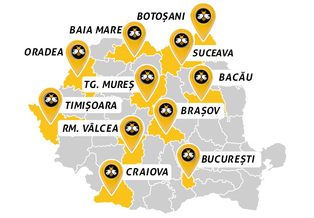 București, Brașov, Timișoara, Bacău, Târgu Mure, Oradea, Baia Mare, Râmnicu Vâlcea, Craiova, Suceava și Botoșani.