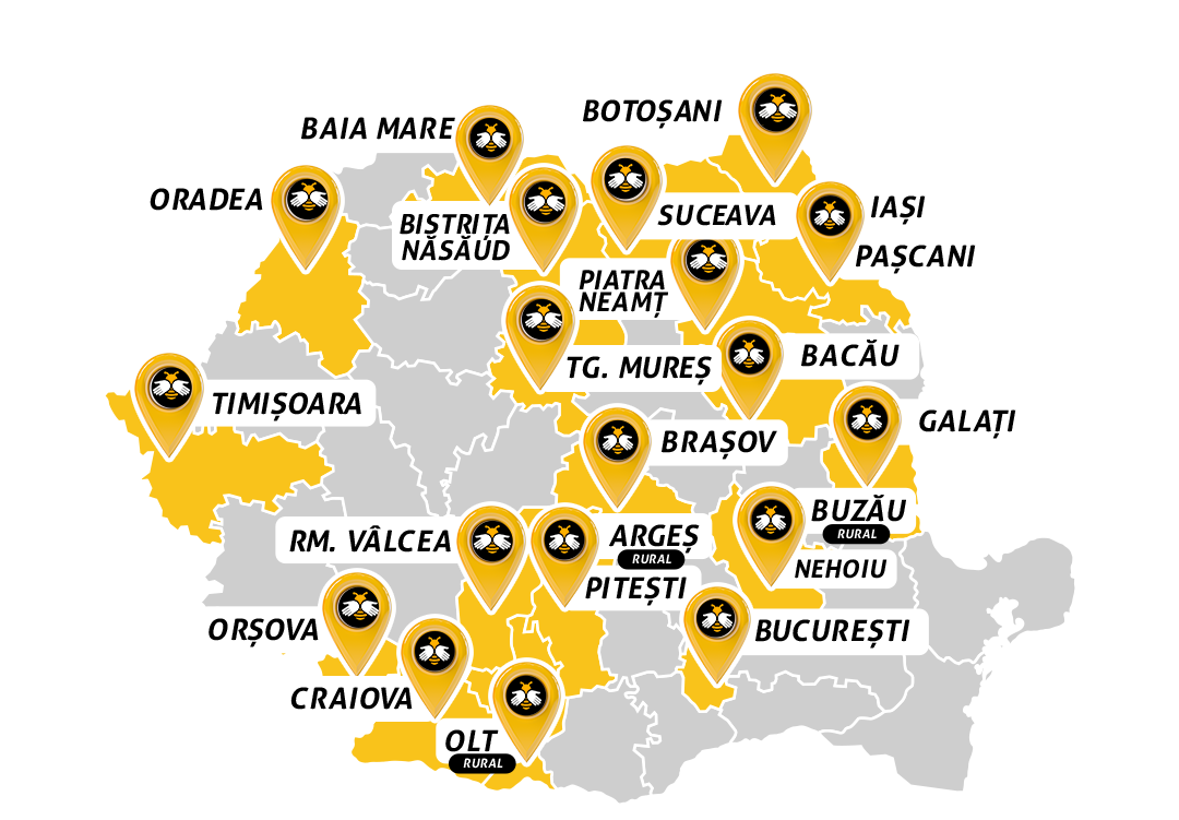 Map of Romania where Beesers services are available.