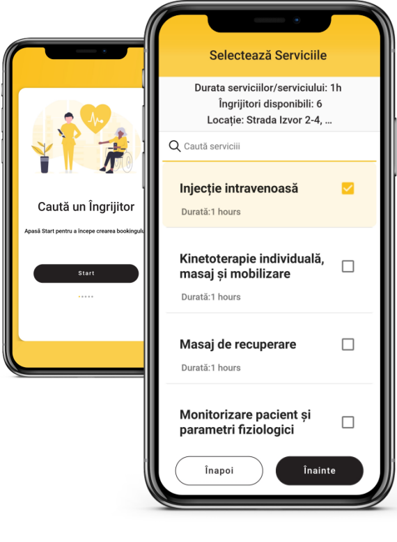 2 mobile phones with the Beesers App opened, 1st mobile phone has the first step of the Beesers wizard and 2nd mobile phone showcases a list of services